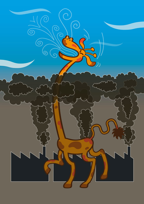 Long-necked giraffe taking a breath of fresh air above polluted industrial zone