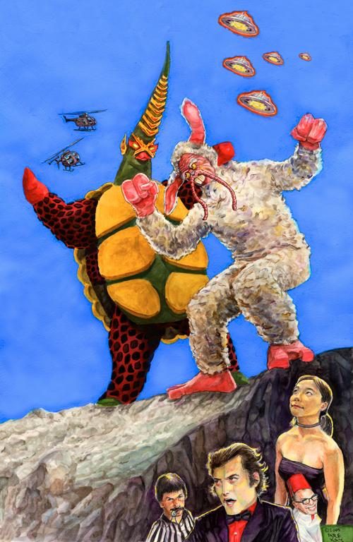 Kaiju Big Battel Vegetius Dusto Bunny Dr. Cube Studio Kaiju menko monster wrestling