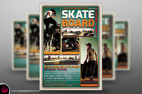 Skating Competition Flyer Template On Pantone Canvas Gallery