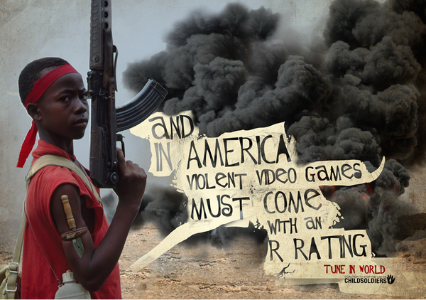 child,Soliders,War,guns,problems,weird,world,kids,bombs,Bullets,fight,two world,school,Against,social,print,campaign,Tune In