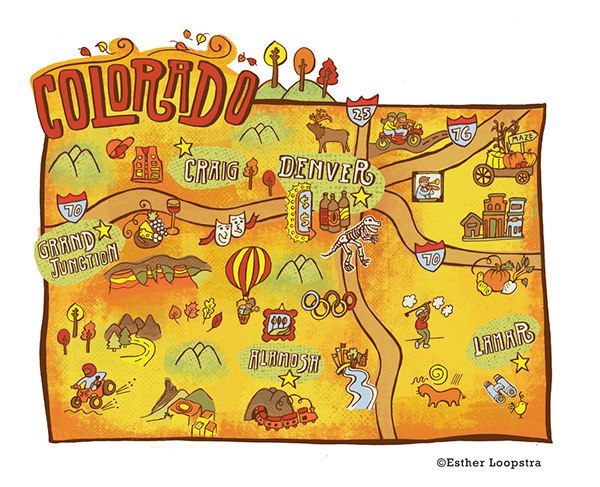 Colorado Map series published in Denver Post on Behance – Kids Travel Map