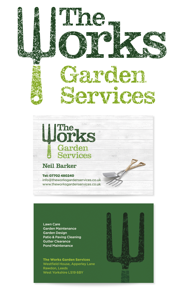 the works garden services on behance - Garden Design Business Cards