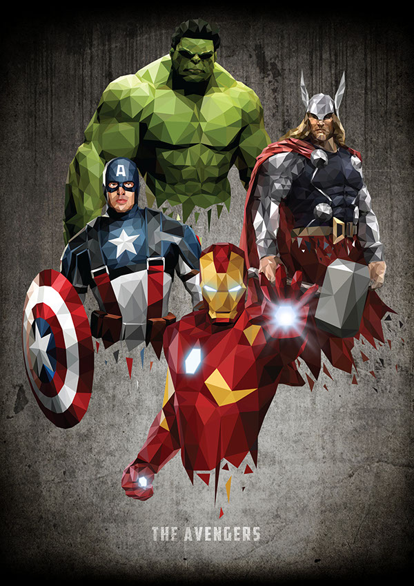 marvel Avengers avengers assemble vector iron man captain america Thor Hulk The Incredible Hulk triangle polygon SuperHero Hero geometric Low Poly