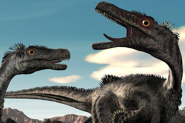 Velociraptors Flee (detail)