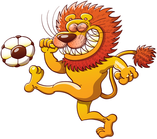 Brave lion shooting a soccer ball