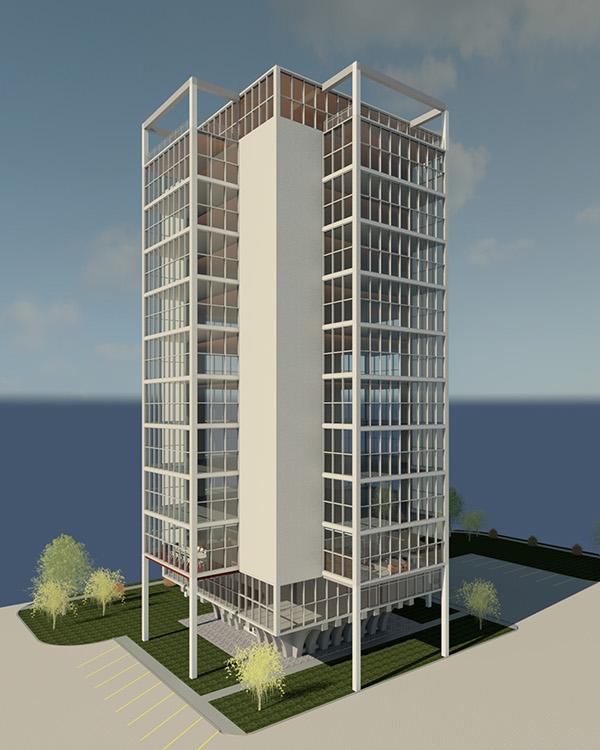 12 Floor Building Revit Model On Behance