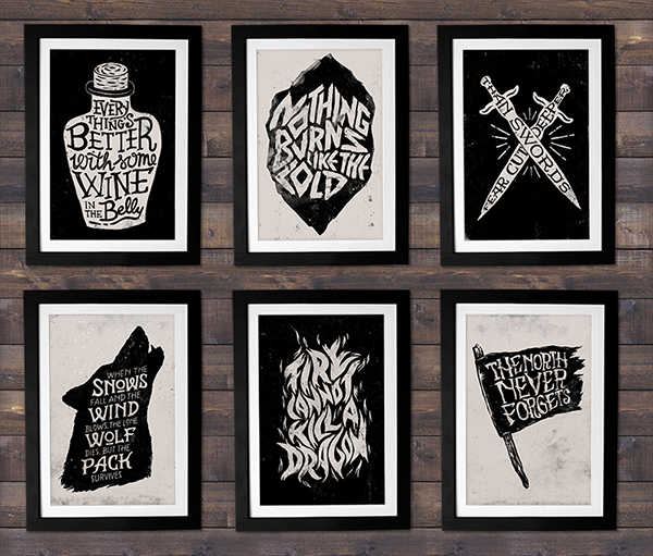 poster Game of Thrones type Handmade Type handdrawn handdrawn type HAND LETTERING lettering letters brush wolf Quotes