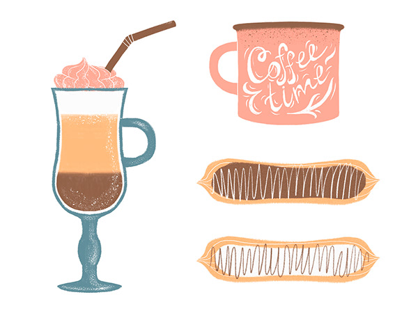Illustration of a set for coffee lovers