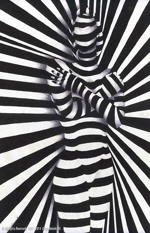 stripes girl woman black and white