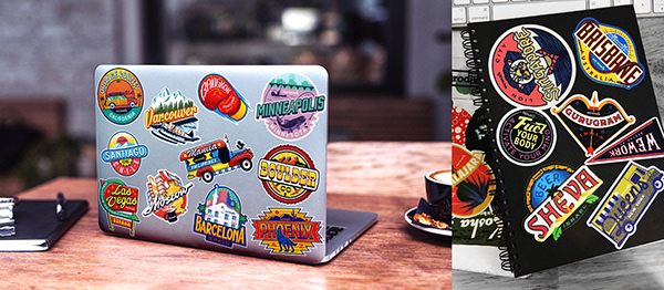 Sticker logos of Moscow for WeWork