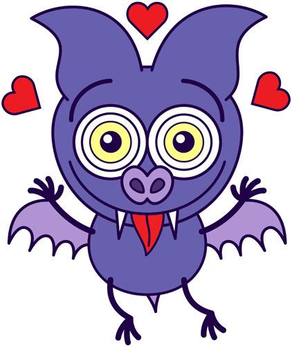 Cute bat falling in love