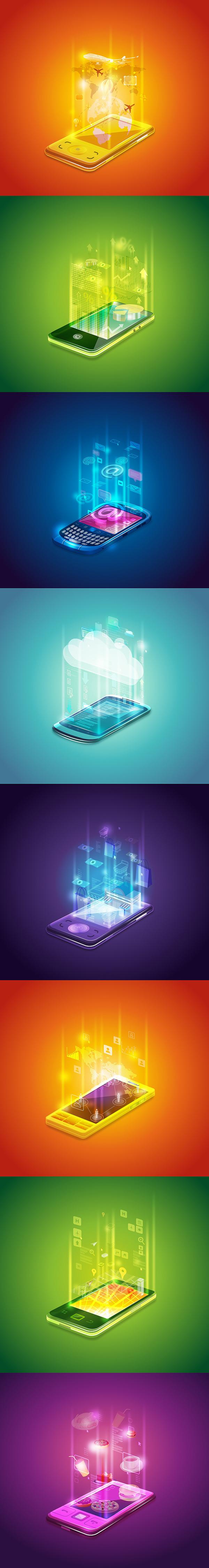 Illustrator claudia rueda oven design Workshop Icon mobile app series holographic digital art vector
