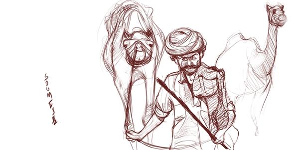 sketch rajasthani camel rider   on Behance
