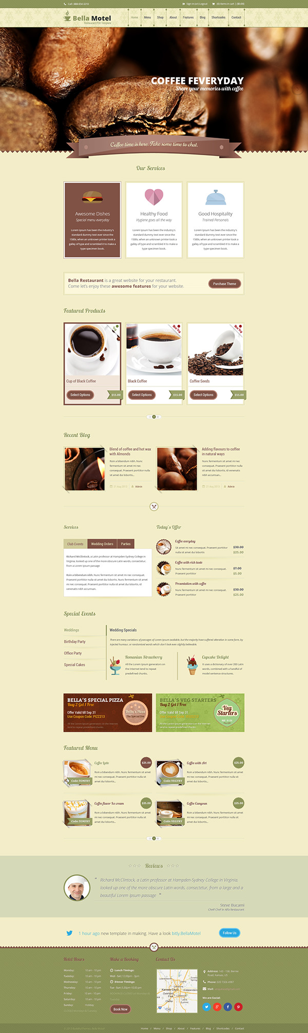 Bella restaurant bakery psd template on pantone canvas for Page 3 salon coimbatore