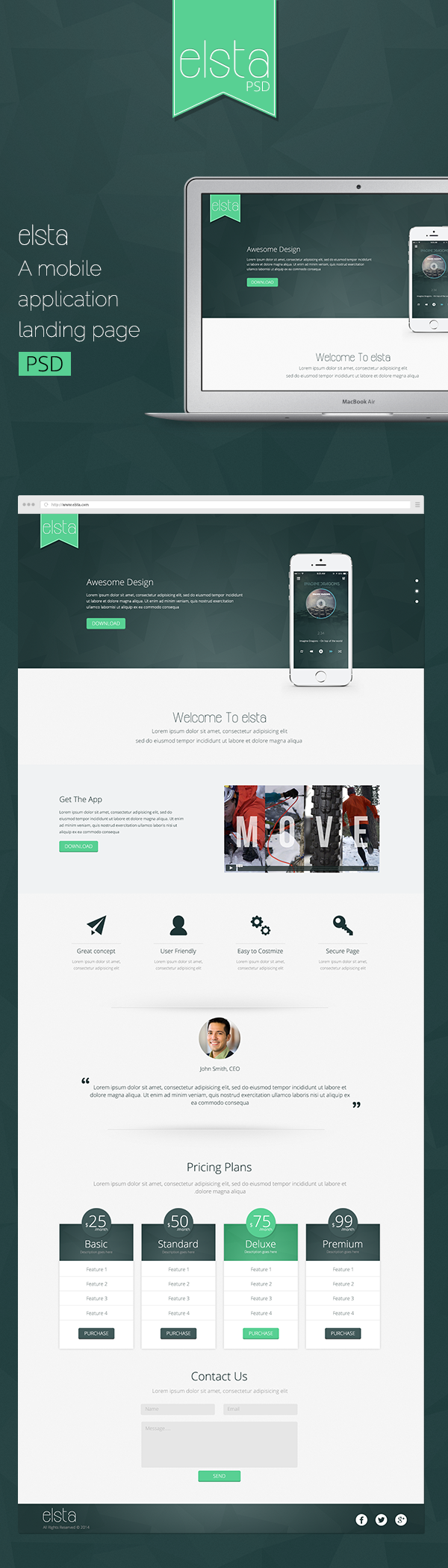 elsta - A mobile application landing page (FREE PSD) on Behance