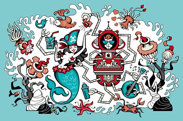 sirene robot pieuvre mer Ocean poissons fête party octopus pin-up Tiki geek vector vintage Retro