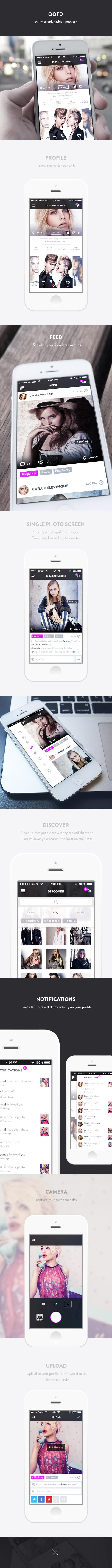 ios7 profile UI ux flat Interface redesign iphone social sharing