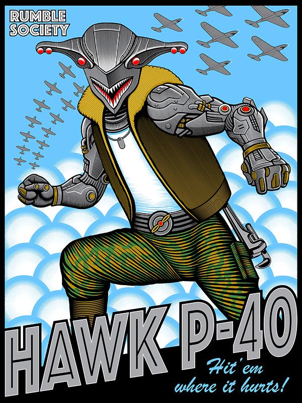 """Hawk P-40"" Mezco Toyz illustration"
