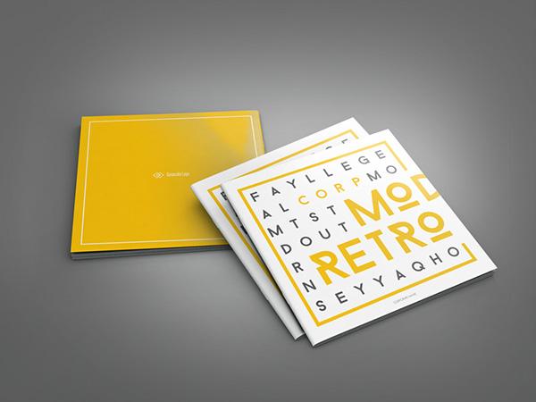 retro style square brochure indesign on behance. Black Bedroom Furniture Sets. Home Design Ideas