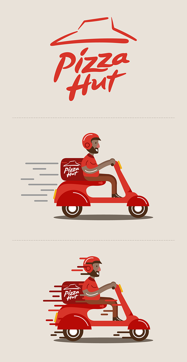 pizza hut delivery character design on behance