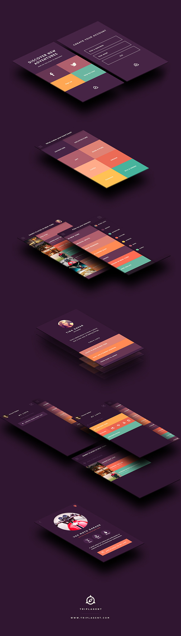 flat ui  mobile app colorful Travel brand identity user experience