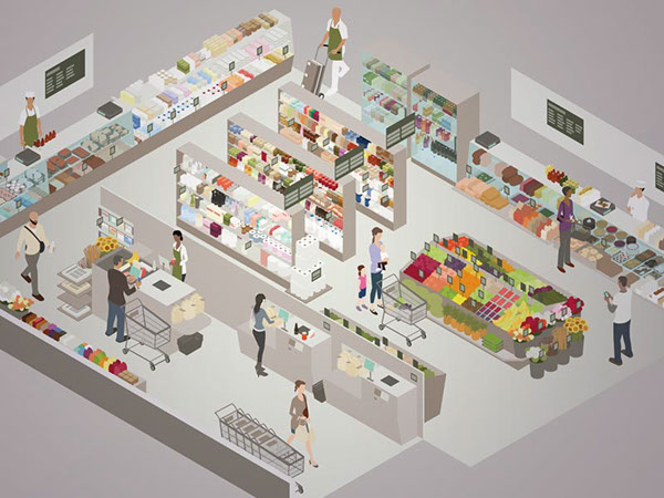 Isometric room and scene illustrations