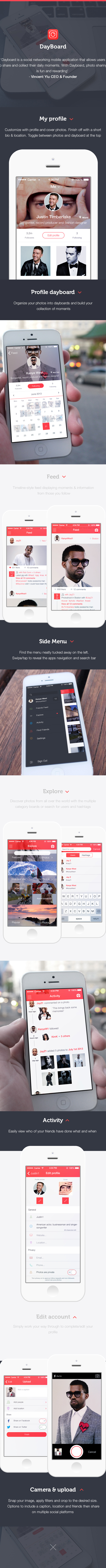 ios7 UI ux profile photos sharing social network Interface screen visual