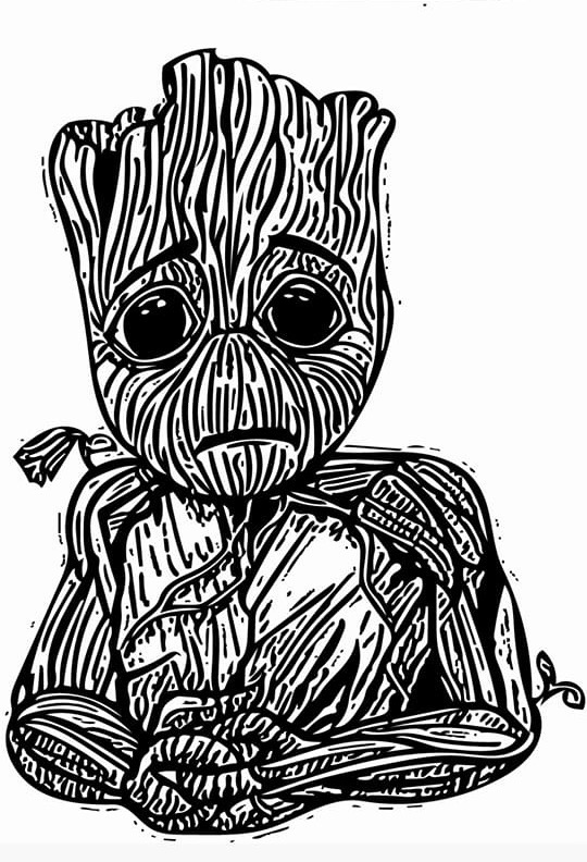 Crying Baby Groot Vector And Traditional Colors On Behance
