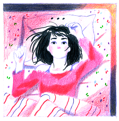 Insomnia sleep night good night Comic Book ILLUSTRATION  sketchbook color pencil bed self portrait