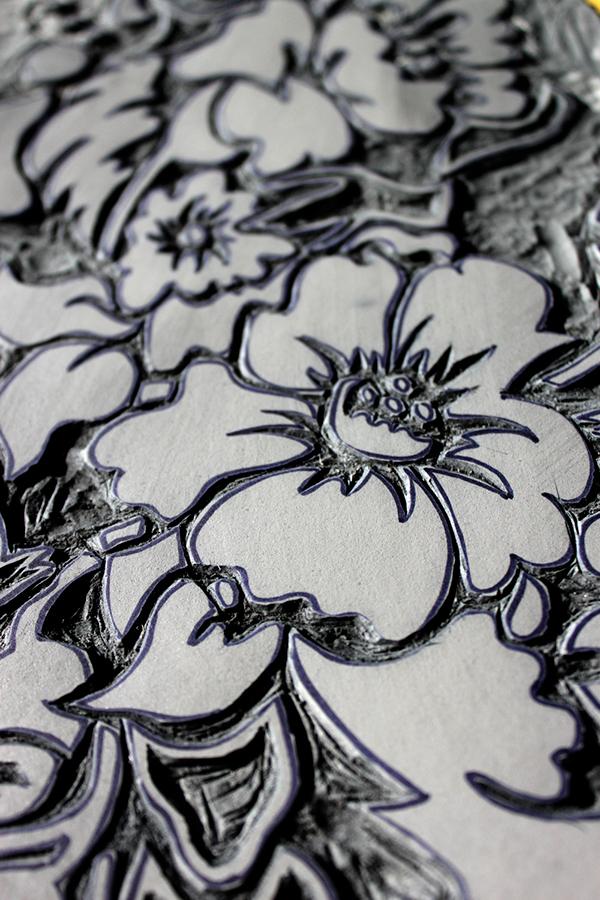 Floral linoleum carving on behance