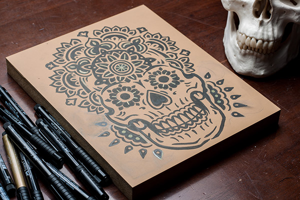 eb3244343 Mandala Sugar Skull - Block Print on Behance
