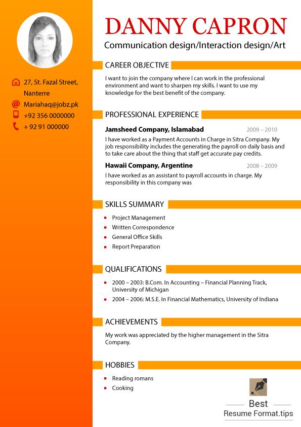 best resume format 2016 - Best Resume Format 2016