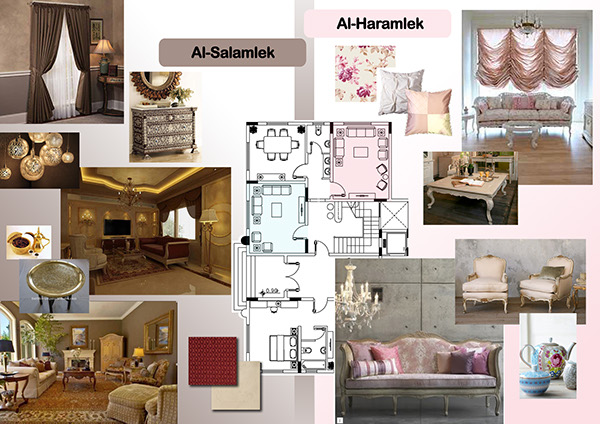 Salamlek For Men Wth Strong Traditional Arabic Style And Haramlek The Ladies Living Room With Feminine Pastel Colors Soft Materials