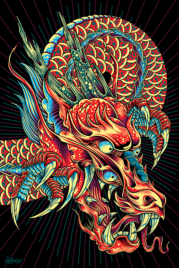 Space Dragon: Studio Wall Mural Installation by Pale Horse ---