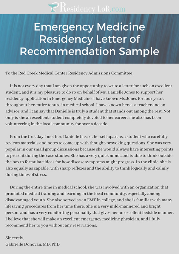 Emergency Medicine Residency Letter Of Recommendation S On Pantone
