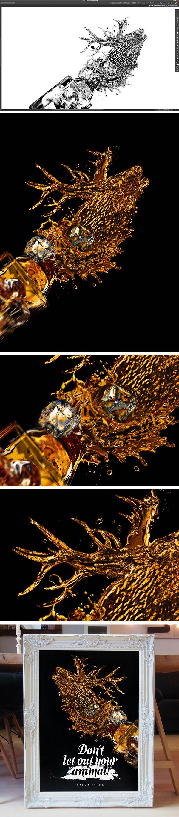 spirit Liquid deer horse franko schiermeyer gold animal drink responsibly