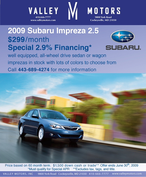 Valley motors marketing pieces on behance Subaru valley motors