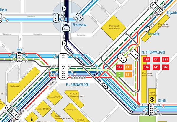 Map of public transport in Wroclaw on Behance