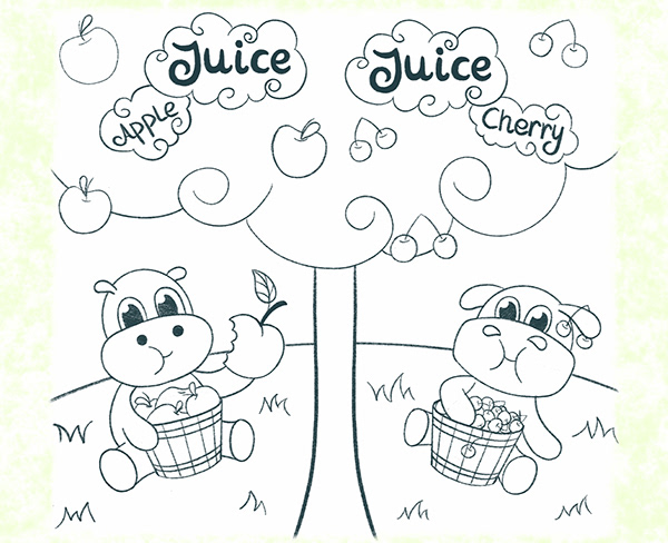 Hippo - paired illustration for juice packaging