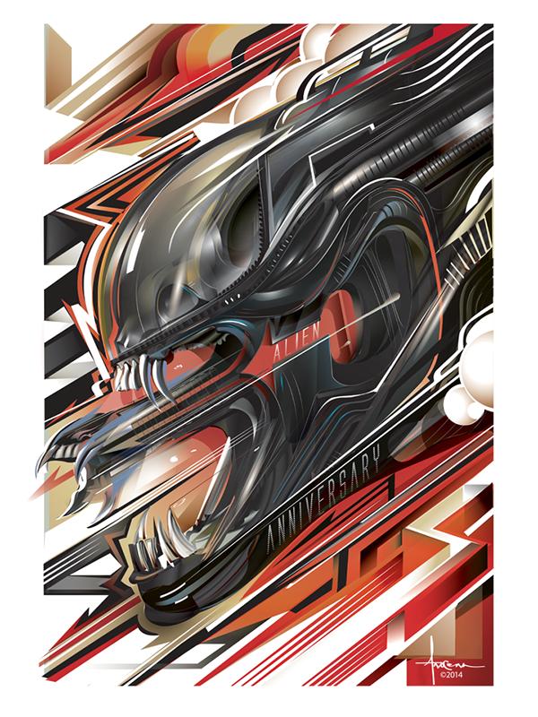 alien 35 vector poster tribute