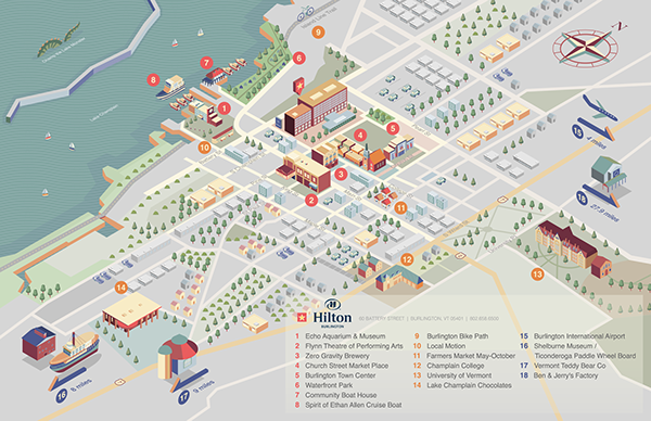 Hilton,hotel,map,map design,Isometric,Mapping,illustrated map,flat,vector design,infographic