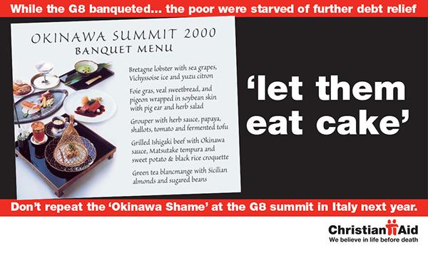 Christian Aid campaign Debt G8 Geneva Third World charity Aid a5 roll fold
