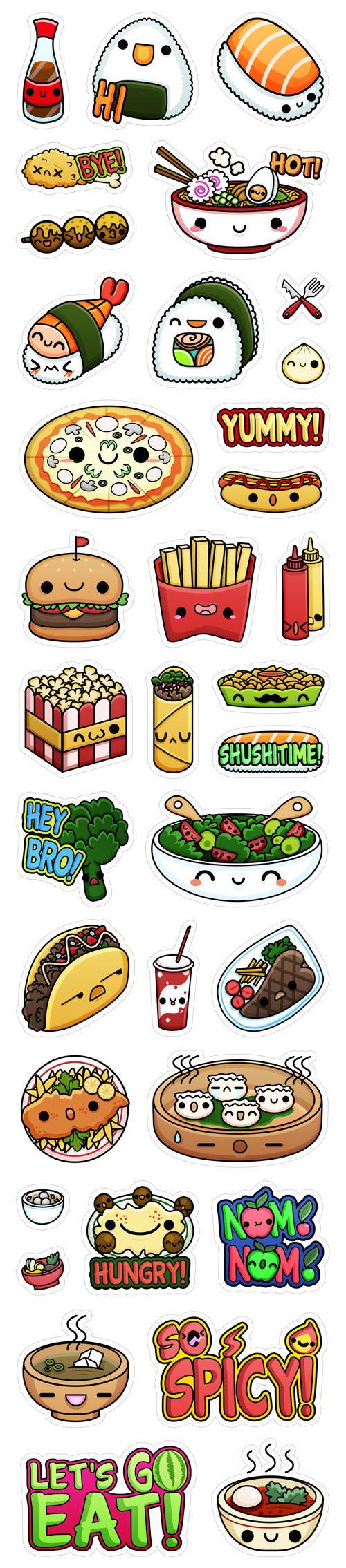 Vibers Kawaii Food Stickers On Behance