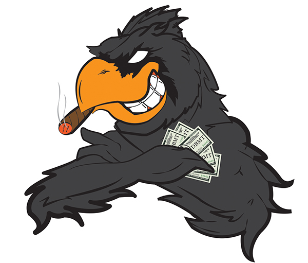 dirty bird money team logo on student show