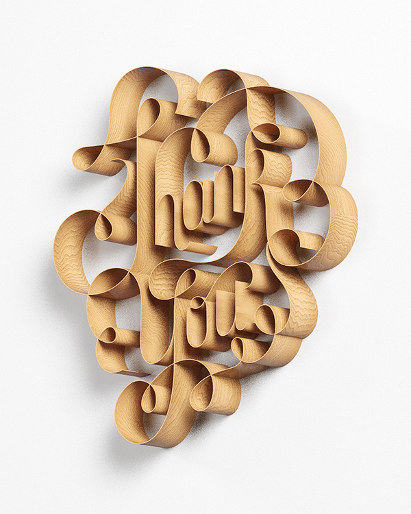 wood 3D lettering  script CGI