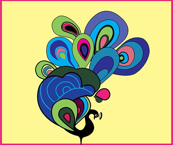 peacock colorful Illustrator