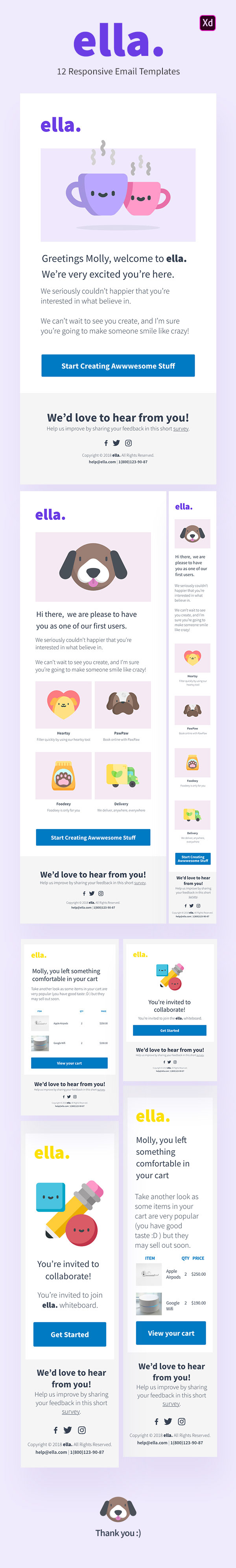 Ella 12 Responsive Email Templates For Adobe Xd On Behance