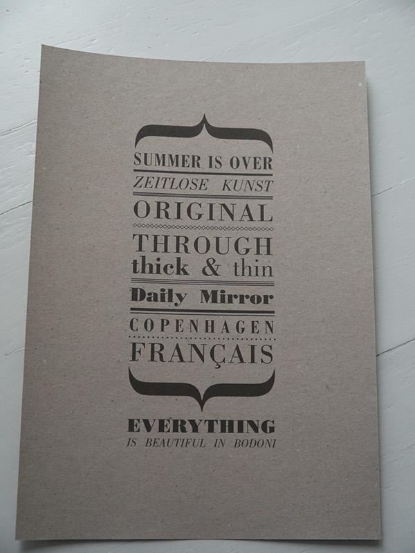 bodoni font poster design paper
