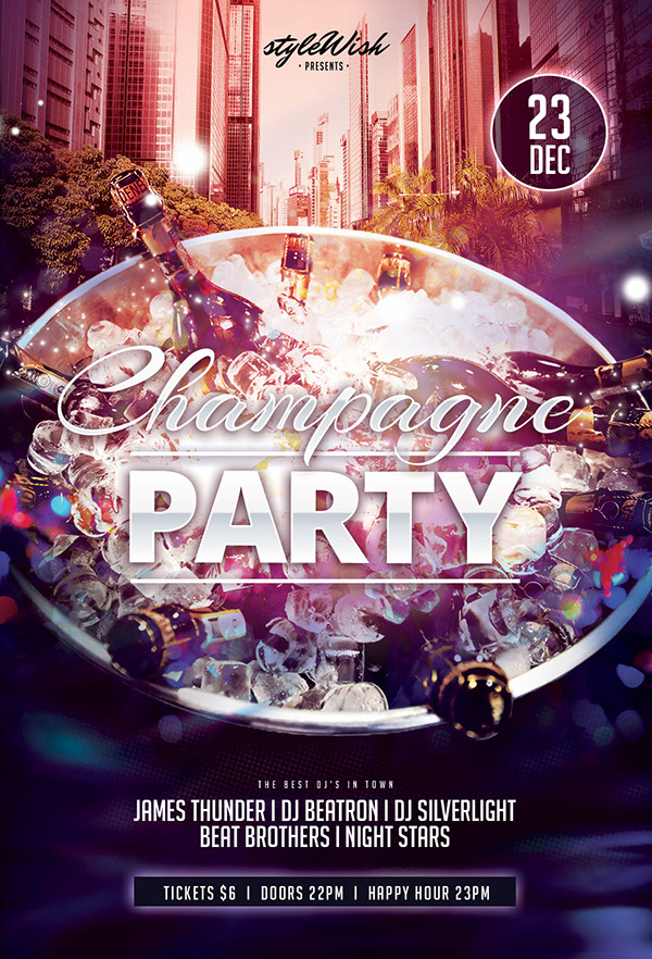 Free Champagne Party Flyer Template On Behance