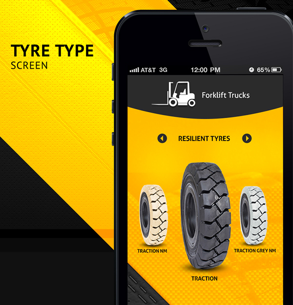 LAUGFS Tyres Product Catalog iOS UI Design on Student Show